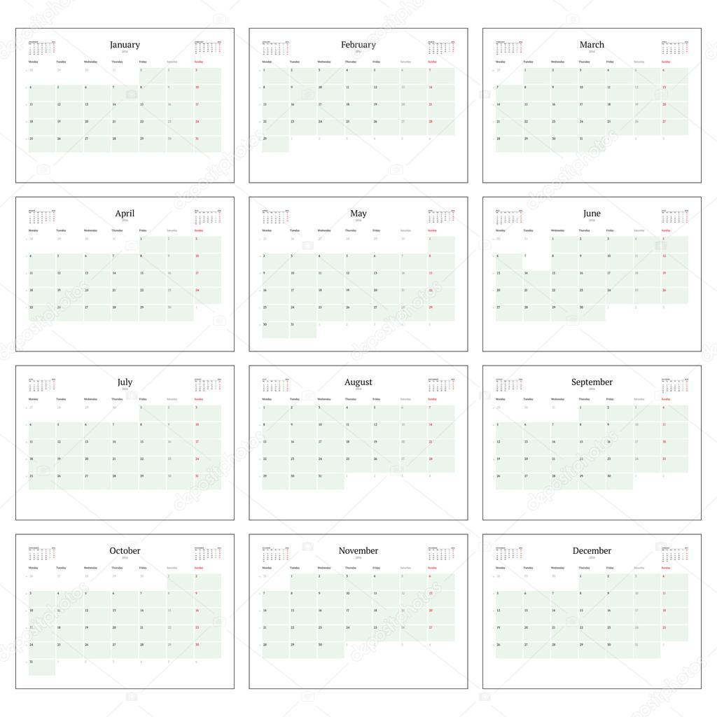 Planificador de calendario mensual para el 2016. Imprimir conjunto ...