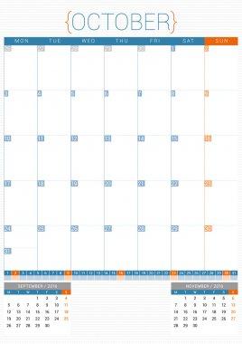Calendar Planner 2016 Design Template. October. Week Starts Monday