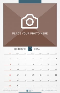 October 2016. Wall Monthly Calendar for 2016 Year. Vector Design Print Template with Place for Photo. Week Starts Sunday. Portrait Orientation