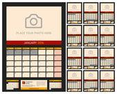 Nástěnné kalendář Planner pro rok 2016. Vektorový Design tiskové šablony s místem pro fotografie na tmavém pozadí. Týden začíná pondělí. Orientace na výšku. Sada 12 měsíců