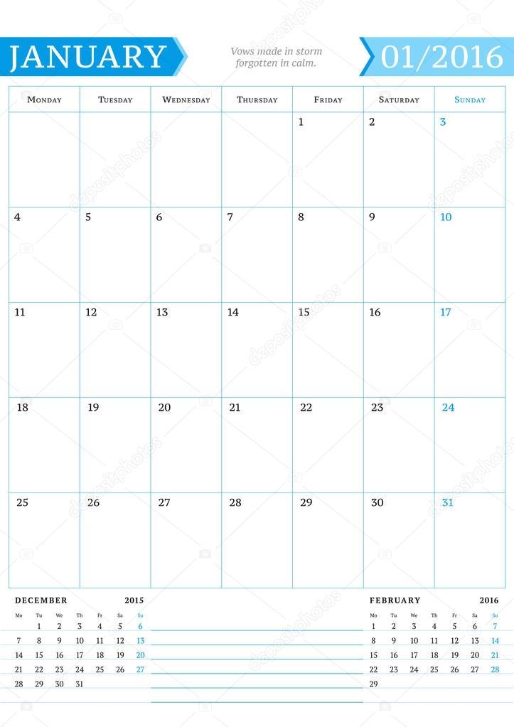 Enero de 2016. Planificador de calendario mensual para el año 2016 ...