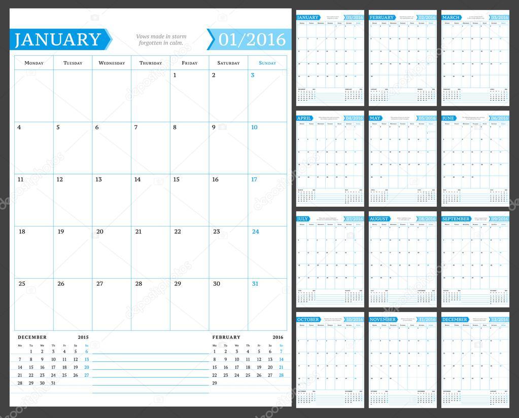 Calendario Anno 2015 Mensile.Mensile Calendario Planner Per L Anno 2016 Modello Stampa