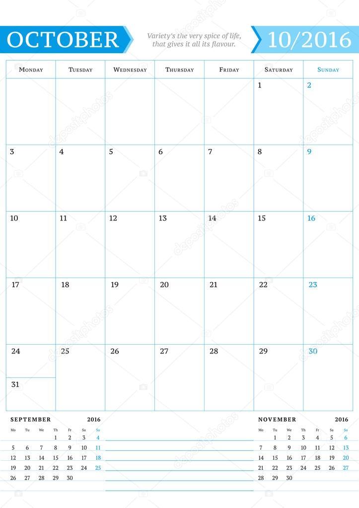 october 2016 monthly calendar planner for 2016 year vector design