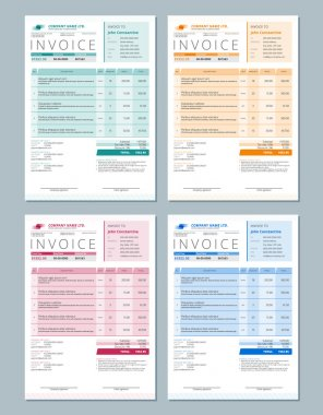 Set of Vector Invoice Design Templates. Gren, Orange, Red and Blue Colors
