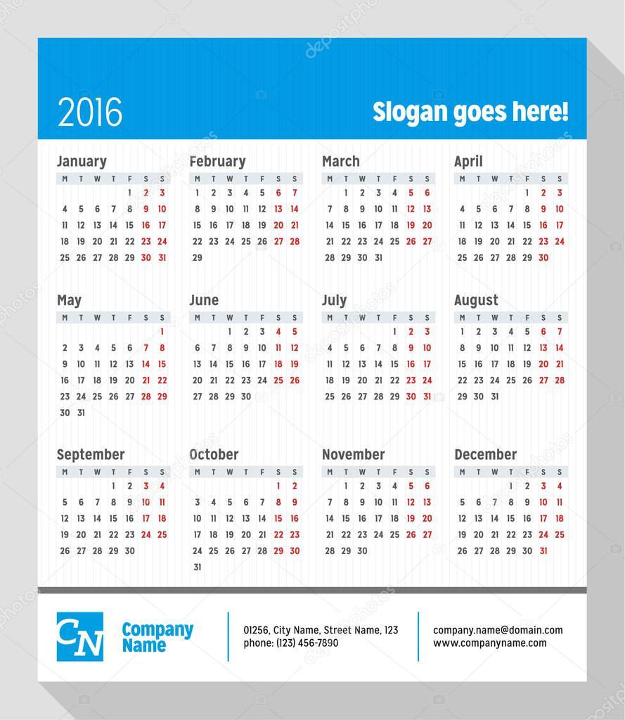 Calendário para o ano de 2016. Semana começa segunda-feira. Vector Design  impressão modelo com lugar para Slogan, logotipo e informações de contato —  Vetor ...
