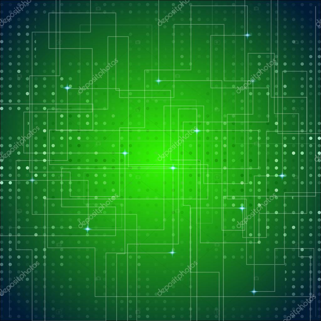 Circuit Board Texture Green Abstract Vector Background — Stock ...