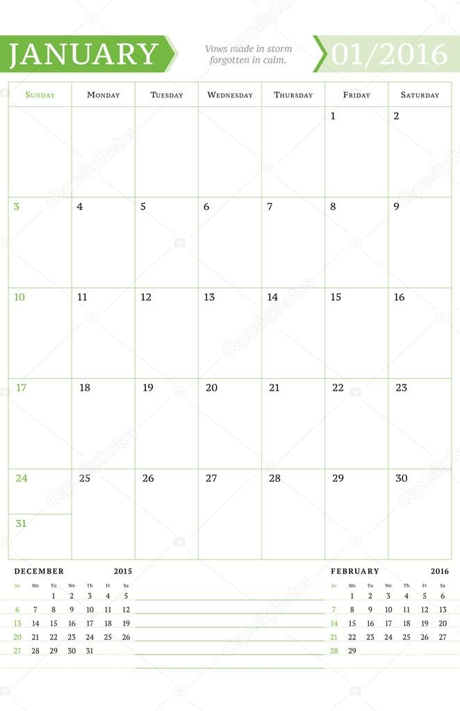 january 2016 monthly calendar planner for 2016 year vector design