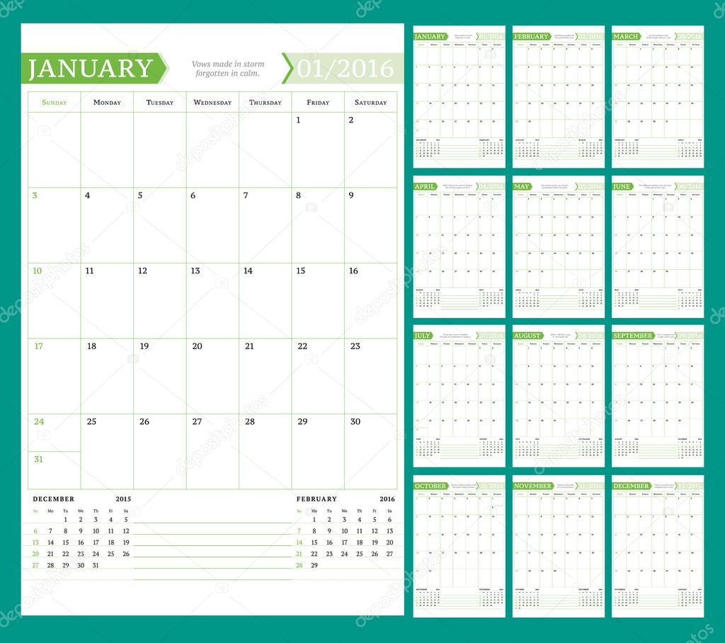 planificateur de calendrier mensuel pour l 39 ann e 2016 vector design mod le d 39 impression avec la. Black Bedroom Furniture Sets. Home Design Ideas