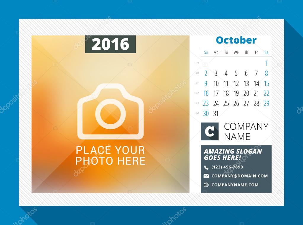 Calendário de mesa para o ano de 2016. Vector Design impressão modelo com  lugar para foto, logotipo e informações de contato. Semana começa domingo.
