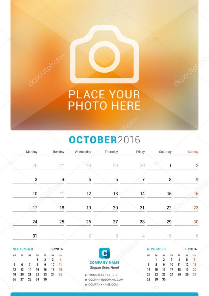 Οκτωβρίου 2016. Μηνιαίο ημερολόγιο τοίχου για το έτος 2016. Διάνυσμα  εκτύπωσης πρότυπο σχεδίασης με f26fb134f38