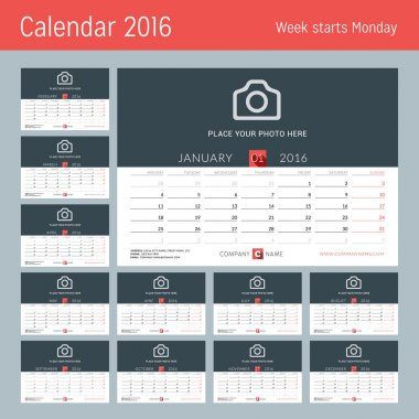 Desk Calendar for 2016 Year. Vector Design Print Template with Place for Photo, Logo and Contact Information. Week Starts Monday. Set of 12 Months