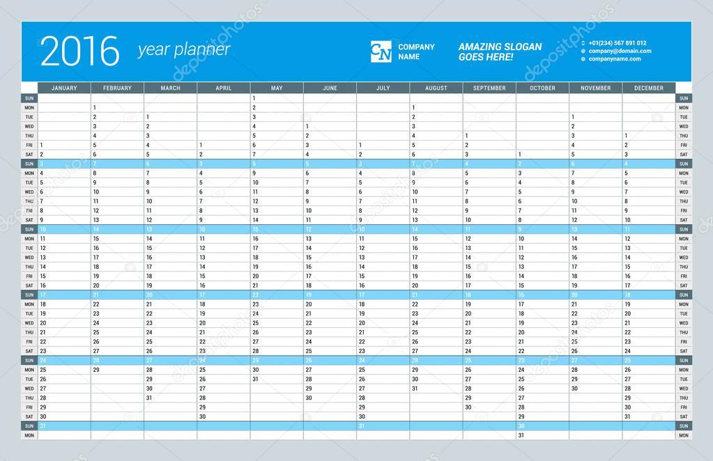 Anual Calendario pared del planificador de plantilla para el año ...