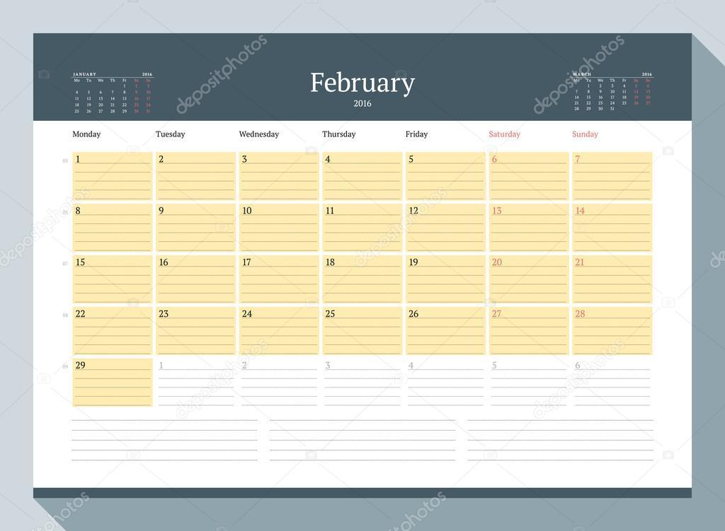 february 2016 monthly calendar planner for 2016 year vector design
