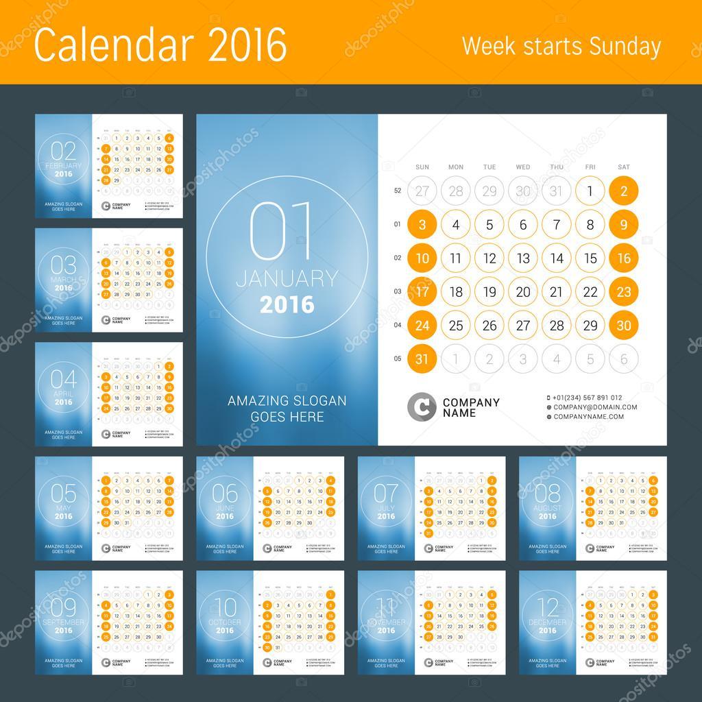 Calendrier Pour L Annee 2016 Vector Design Modele D Impression La