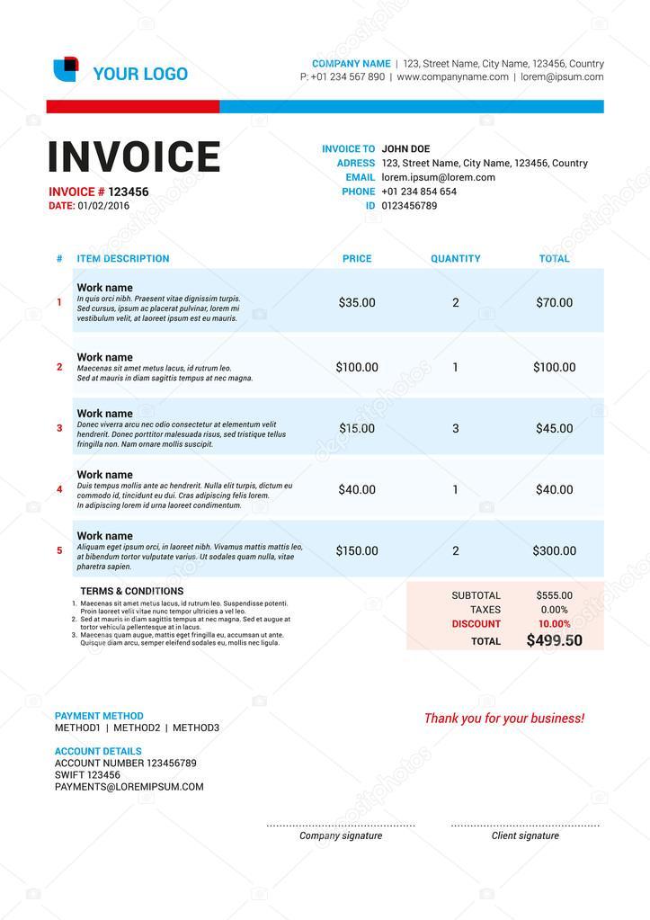 Vektor Rechnung Formular Vorlagendesign Vektor Illustration Rote