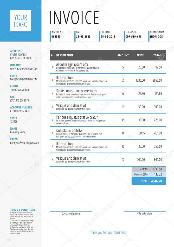 Vektor Rechnung Formular Vorlagendesign Vektor Illustration Blaue