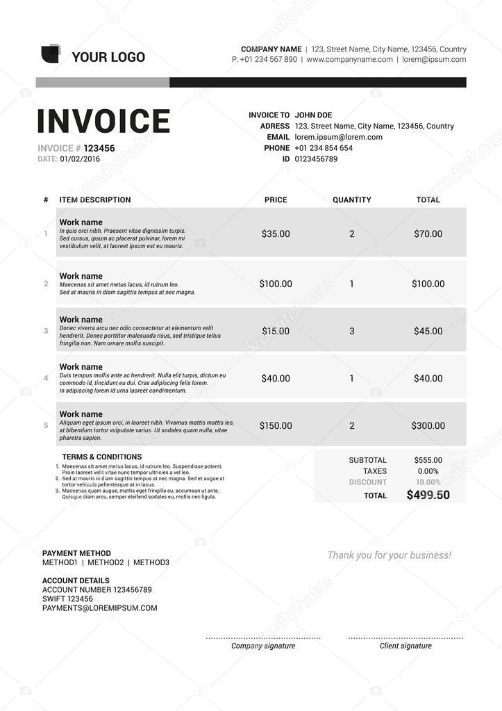 Vector Invoice Form Template Design. Vector Illustration. Grayscale ...