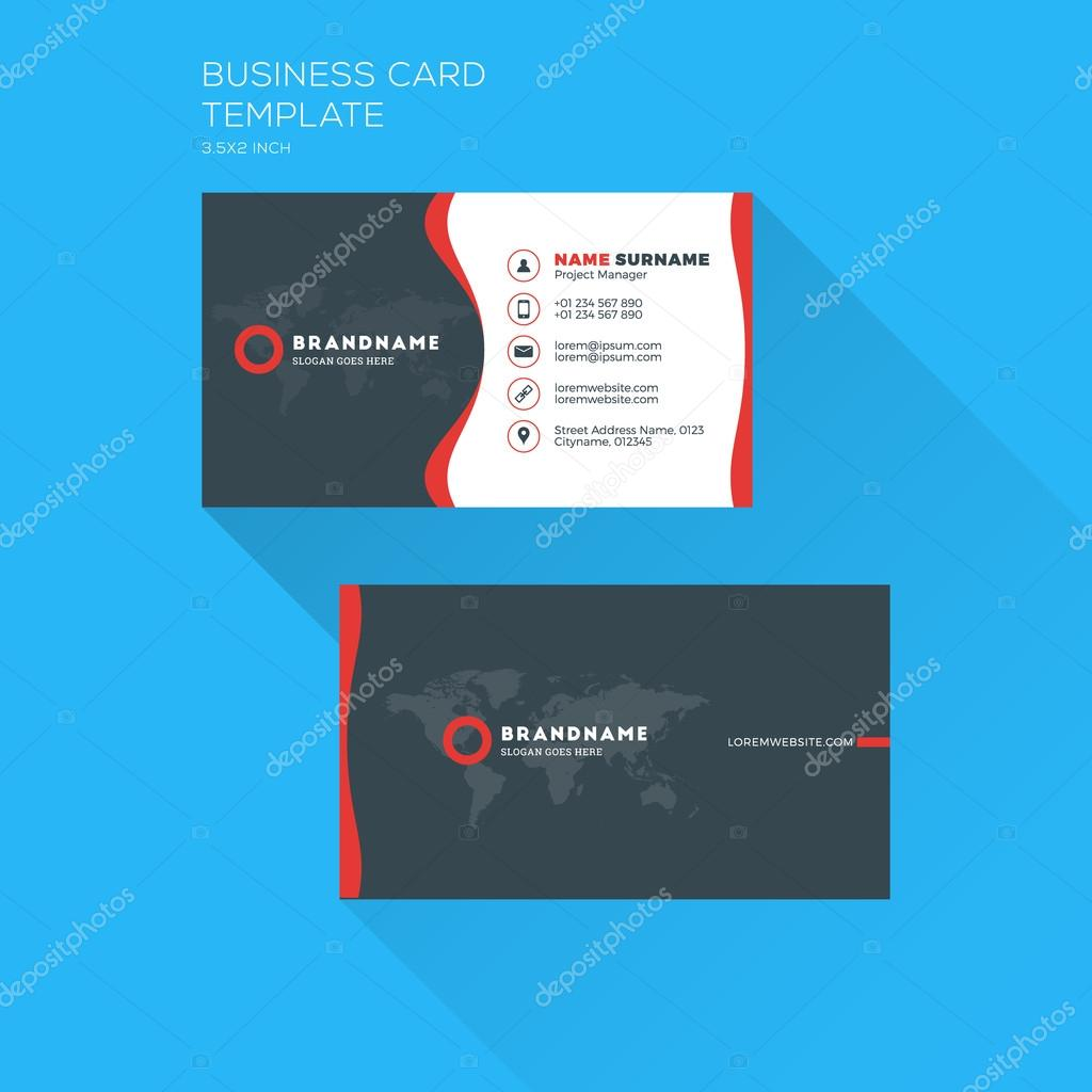 Corporate Business Card Print Template. Personal Visiting Card with ...
