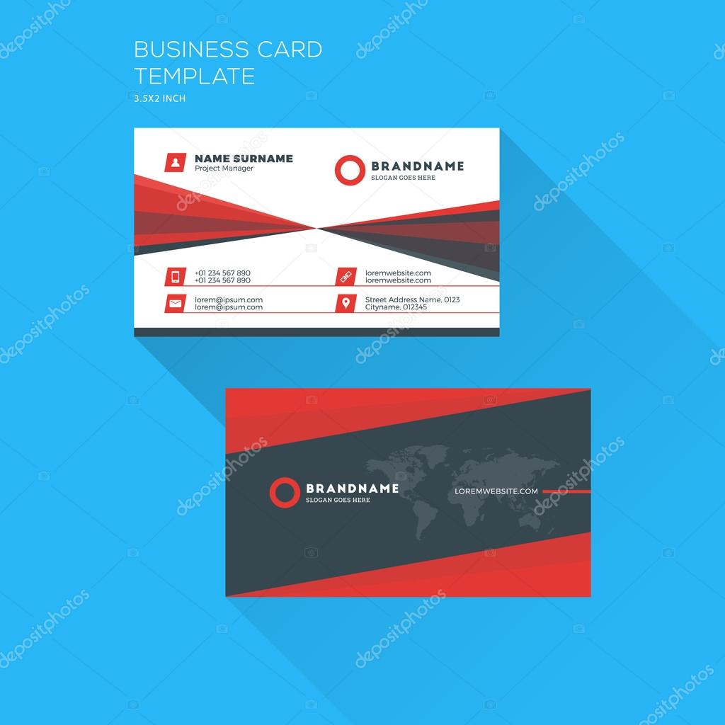 Corporate business card print template personal visiting card with corporate business card print template personal visiting card with company logo clean flat design fbccfo Image collections