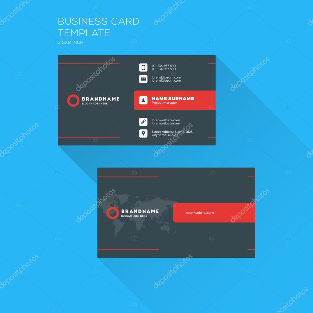 Corporate business card print template personal visiting card with corporate business card print template personal visiting card with company logo clean flat design flashek Image collections