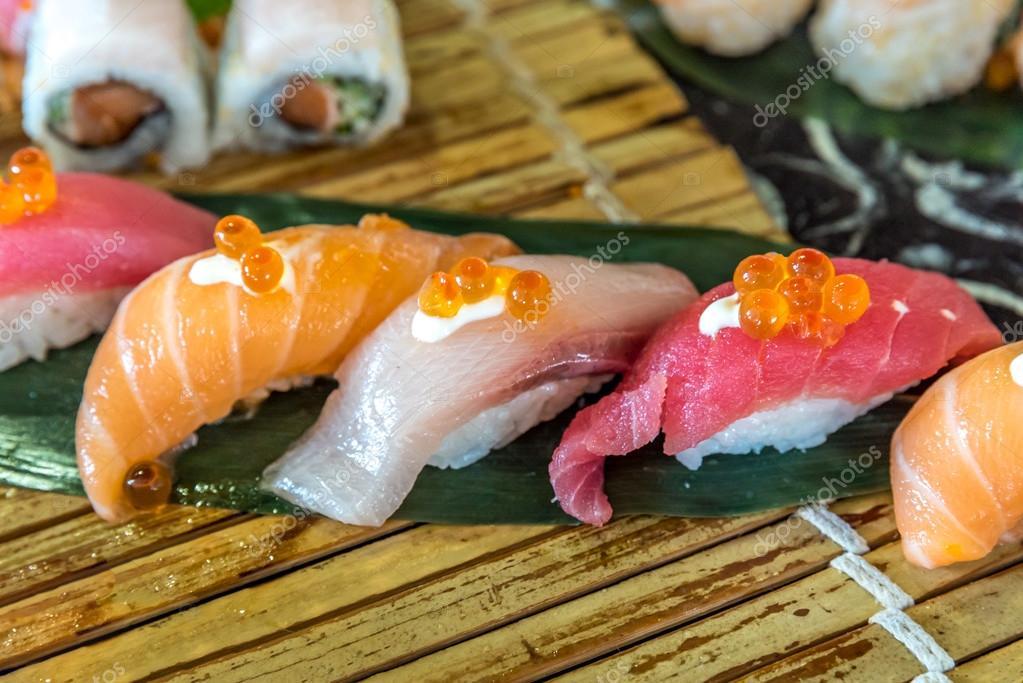 Salmon Tuna And Hamachi Sushi Set Stock Photo Vichie81 116304692