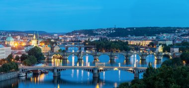 Panorama of Prague at dusk