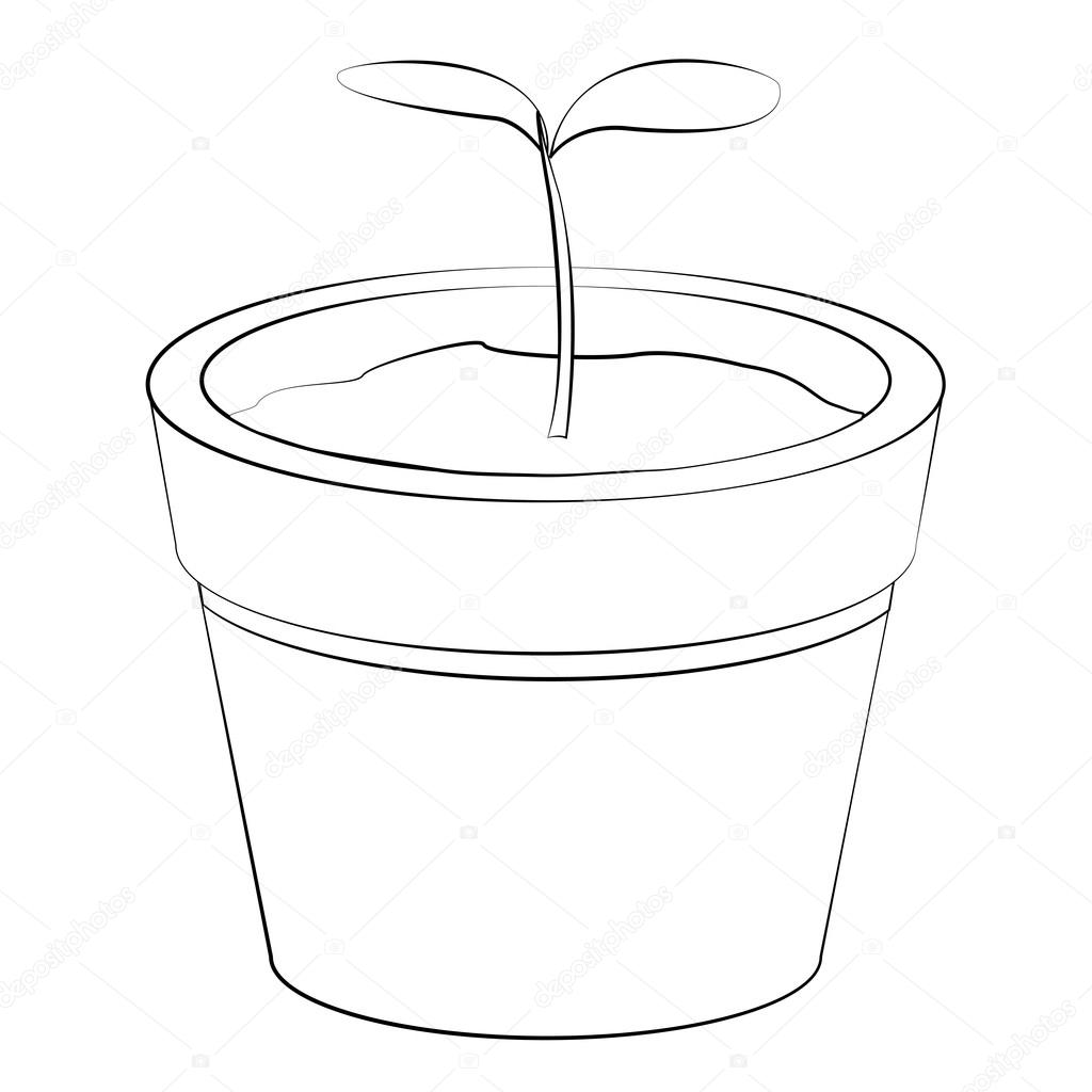 Black outline vector jardiniere