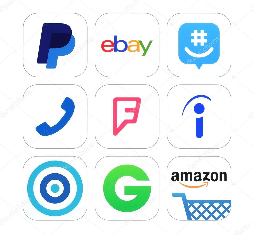 Collection of popular social networking finance and shopping logo collection of popular social networking finance and shopping logo signs stock photo buycottarizona