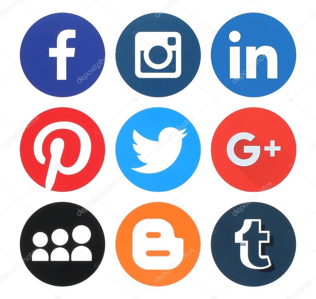 Collection of popular round social media logos