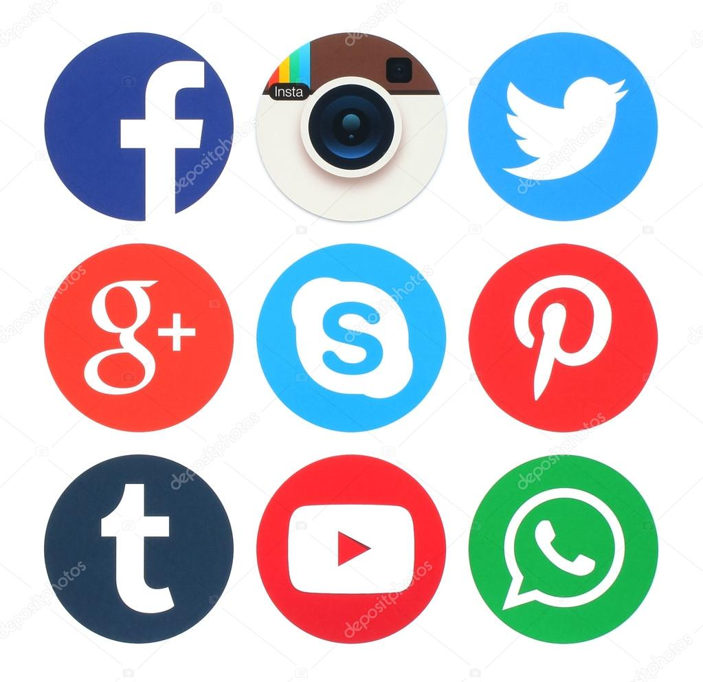 Collection of popular round social media logos