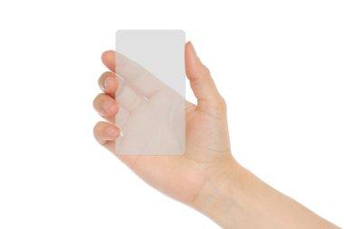 Hand holds transparent card