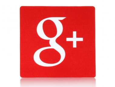 Google plus logotype printed on paper and placed on white background
