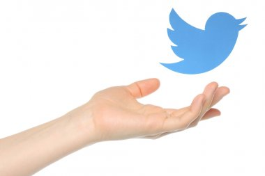 Hand with Twitter bird printed on paper flying away
