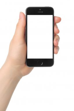 Hand holds iPhone 5s Space Gray on white background