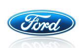 Ford logo vytištěné na papíře a umístěna na bílém pozadí