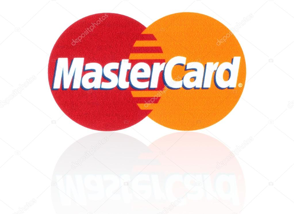 Mastercard logo printed on paper and placed on white background