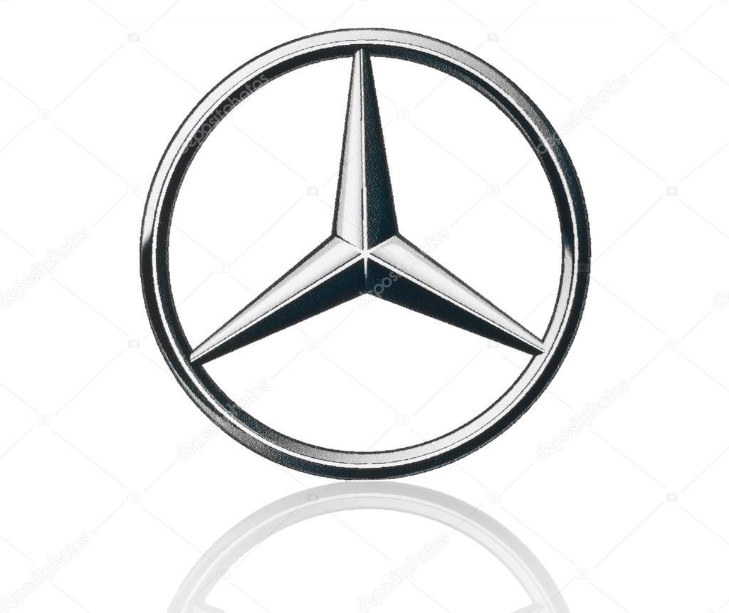 Mercedes Benz Logo Gedrukt Op Papier En Geplaatst Op Witte