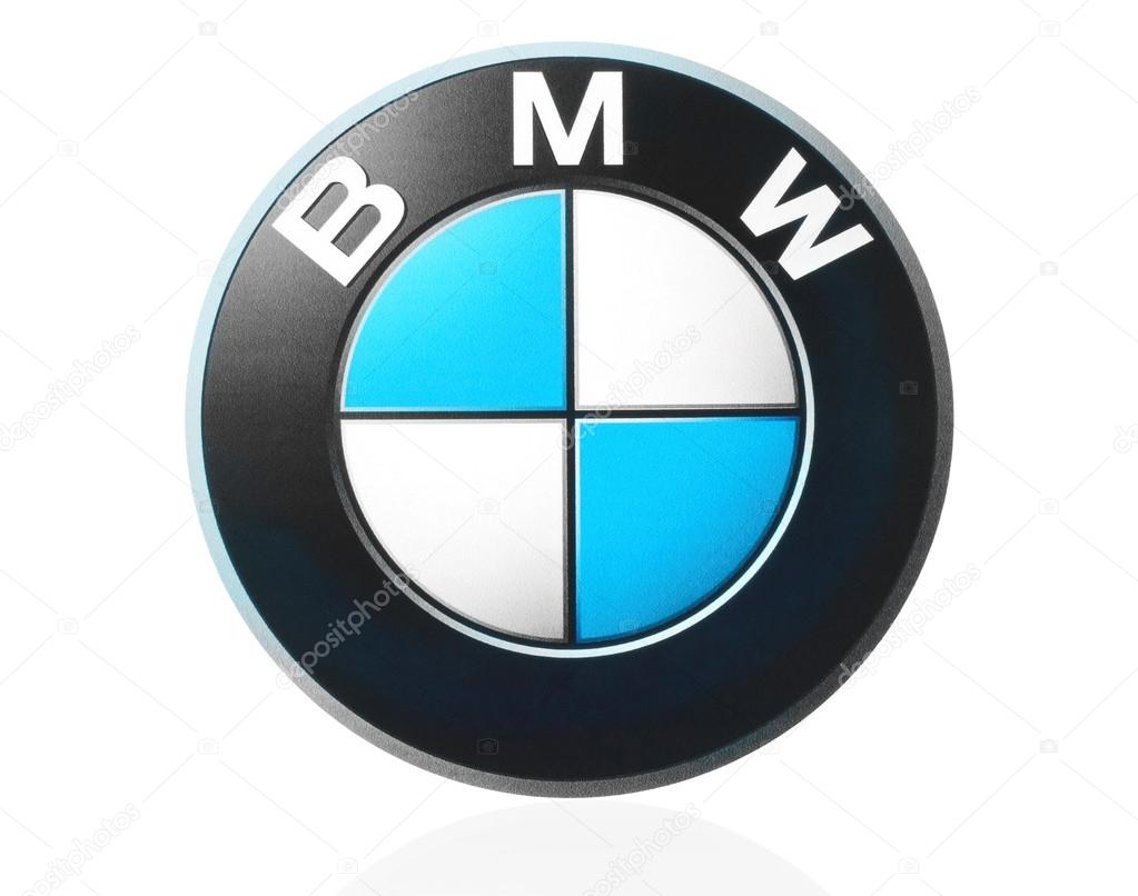 BMW logo printed on paper and placed on white background