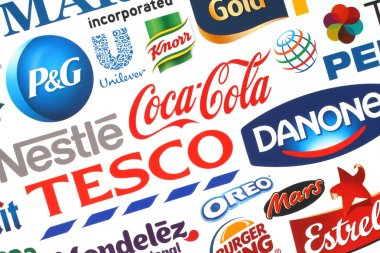 Collection of popular food logos companies printed on paper