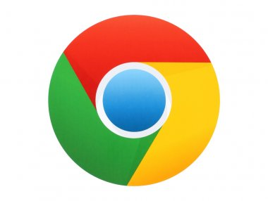 Google Chrome logo printed on paper on white background
