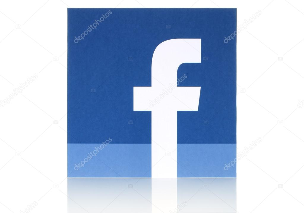 Facebook logo sign printed on paper and placed on white background