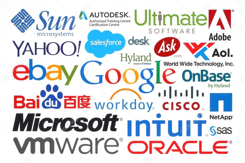 collection of popular internet companies printed on paper ストック