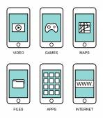 Plochá kontury moderní chytré telefony s prvky různých uživatelského rozhraní