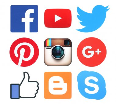 Collection of popular social media logo signs printed on paper:Facebook, Twitter, Google Plus, Instagram, Pinterest, Skype, YouTube and Blogger