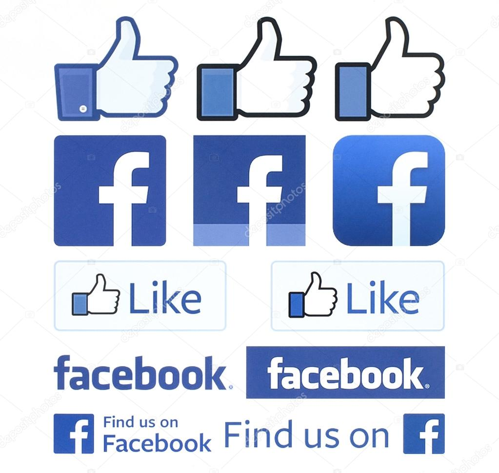 Facebook logos and thumbs up printed on white paper. Facebook is a well-known social networking service