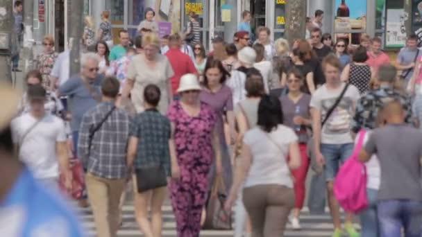 Pedestrians Crossing Street Slow Motion Saint Peterburg 01 August 2016
