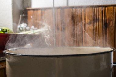 Boiling water in saucepan