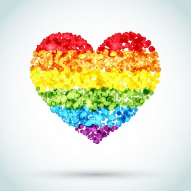 Rainbow Button Heart LGBT Background