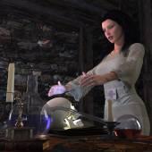 Halloween boszorkány laborháttérrel koncepció
