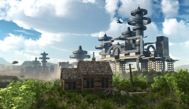 Aerial view of Futuristic City with flying spaceships and ancient house